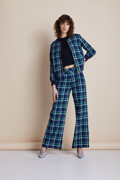 Check Manhattan Wide Leg Trouser