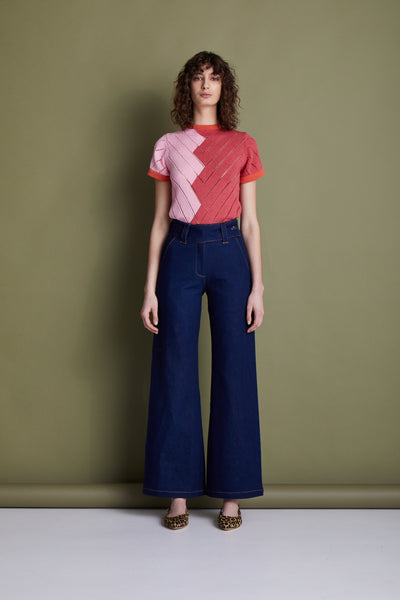 Manhattan Wide Leg Denim Trouser