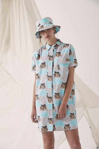 Palm Spring Shirt Dress - Tiger Palm