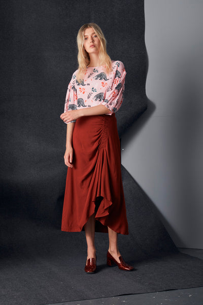 Rust Ruched Skirt