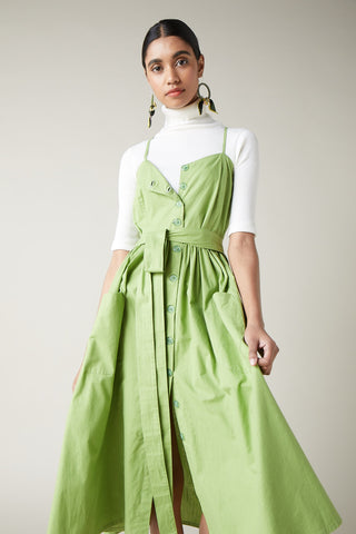 Lime Linen Folk Sundress