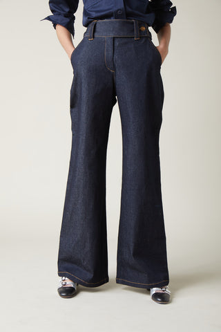 Manhattan Dark Denim Wide Leg Pant