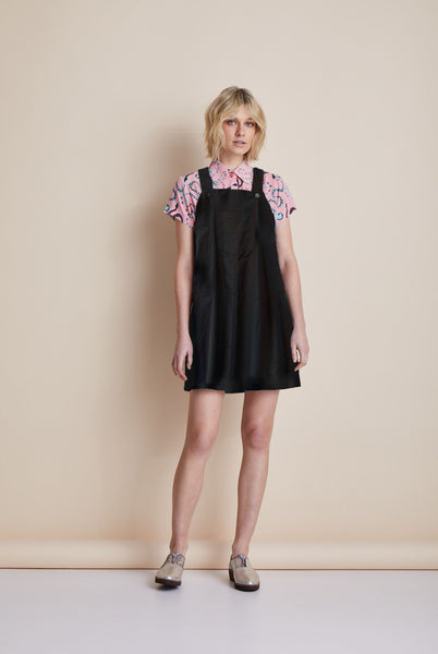 Black Linen Pinafore