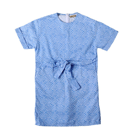 Tied Shift Dress - Blue Scallop