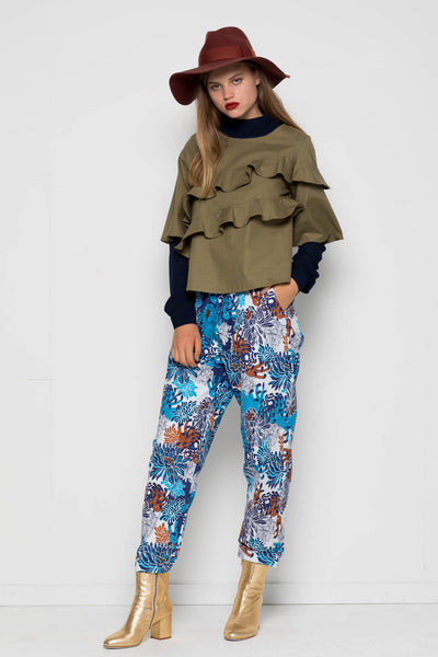 Blue Retro Floral Event Pant