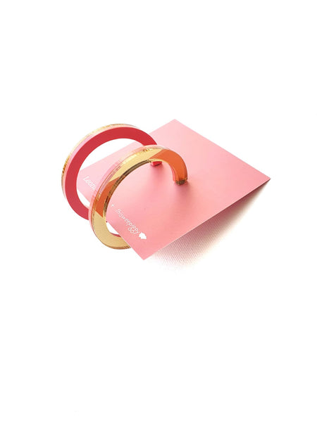 Two Tone Hoop Earrings, Pink & Gold