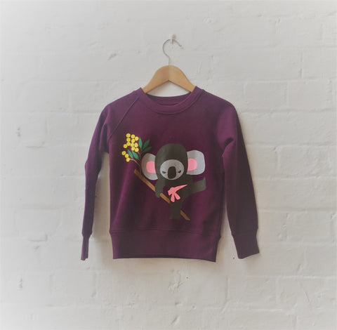 Kids Koala Jumper - Burgundy