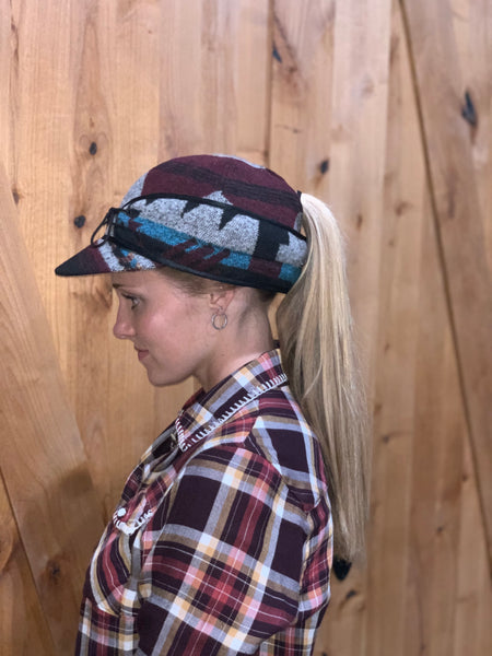"""Slit"" BURGUNDY MIX AZTEC Railroad Hat (P-S) (Available in XS)"