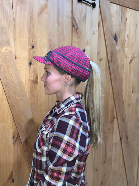 """Slit"" PINK/CHARCOAL PLAID Railroad Hat (P-S)"