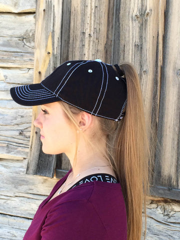 Black w/White Stitch Cap Embroidered