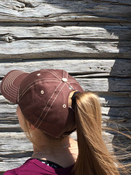 Brown w/Tan Stitch Cap Embroidered
