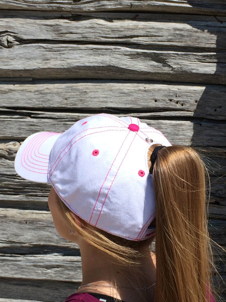 White w/Pink Stitch Cap