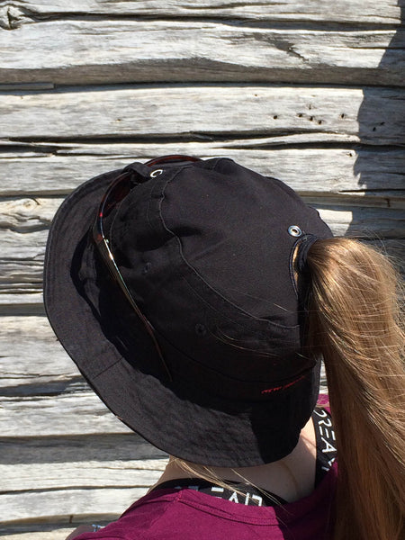 Black Bucket Hat With Embroidery