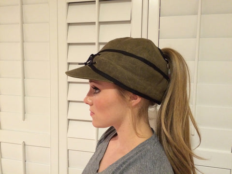 Olive Canvas Railroad Hat (P)