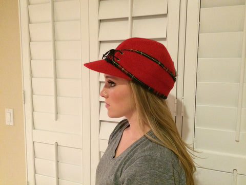 Red/Plaid Lining Railroad Hat