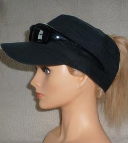 Black military cap with sunglasses holder and ponytail access.