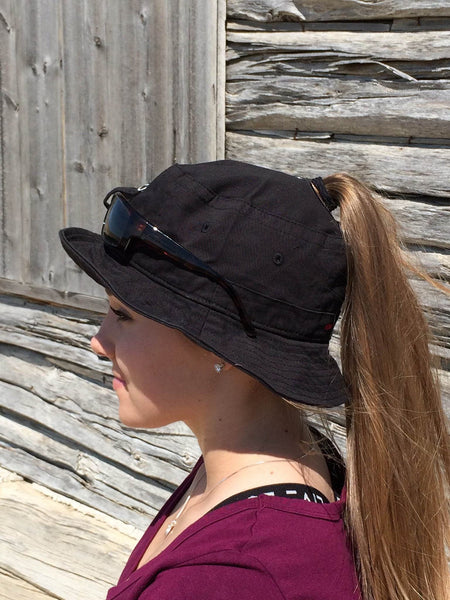 Black Sunglass Bucket Hat Embroidered