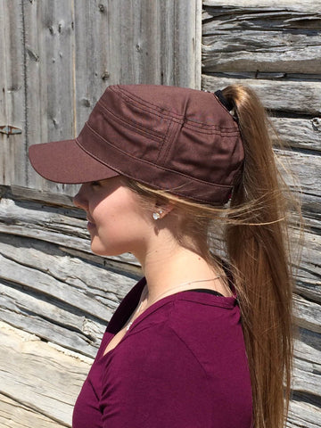 Brown Military Cap Embroidered