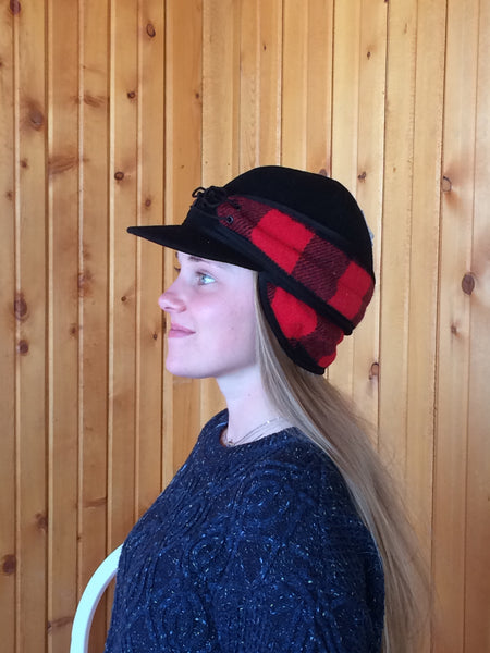 Black/Red Buffalo Railroad Hat (Available in XXS, XS)