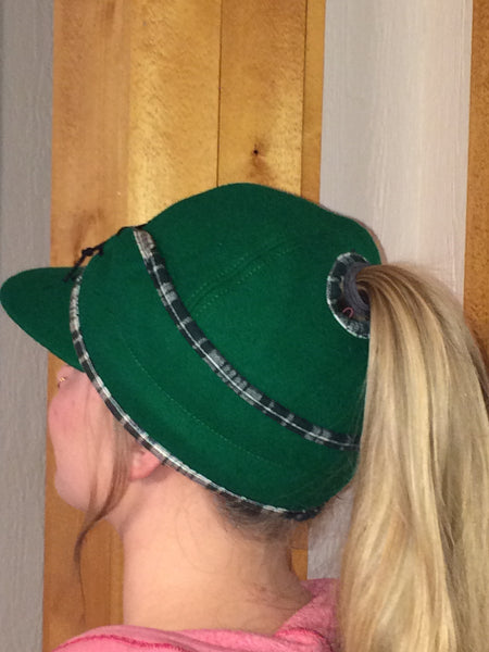Kelly Green/Plaid Piping Railroad Hat (P)