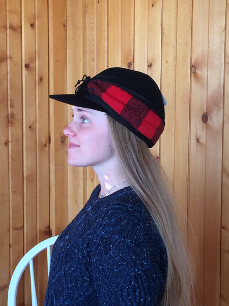Black/Red Buffalo Railroad Hat
