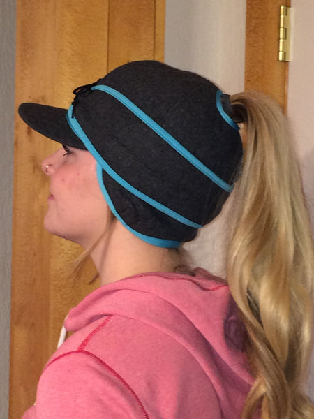 Grey/Blue Railroad Hat (P) (Available in XS)