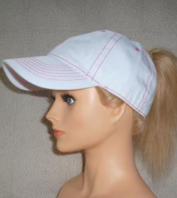 White w/Pink Stitch Cap Embroidered