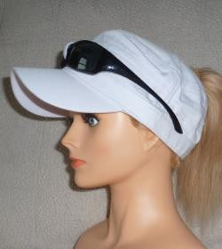White Sunglass Cap With Embroidery