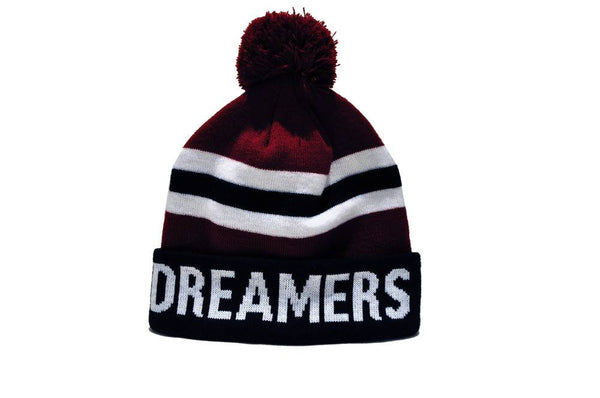 Dreamers Club Pom Beanie Maroon with black