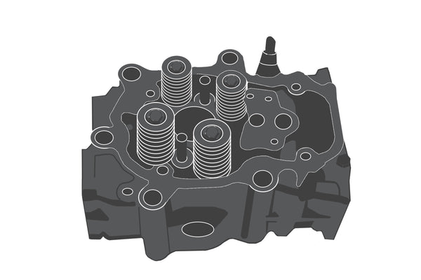 Cylinder head with valves / Zylinderkopf mit Ventilen