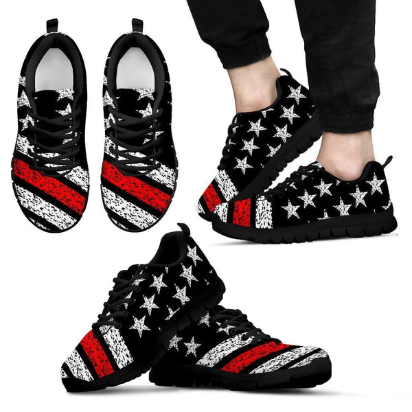 Thin Red Line American Flag Sneakers Custom Shoes Morale Patch® Armory Men's Sneakers - Black - Men's Thin Red Line Sneakers - Black Soles US5 (EU38)