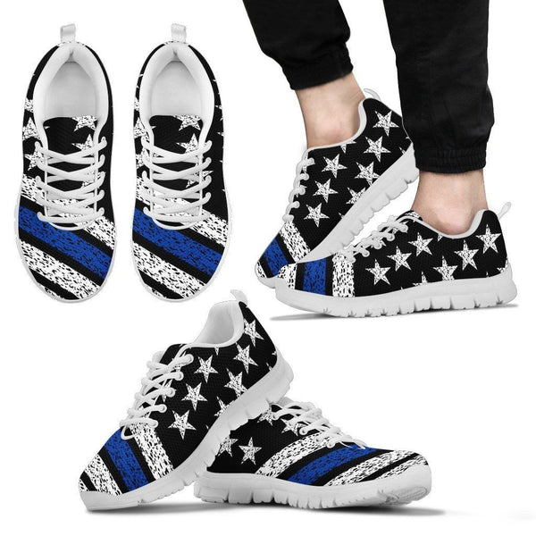 Thin Blue Line American Flag Sneakers Custom Shoes Morale Patch® Armory Men's Sneakers - White - Men's Thin Blue Line Sneakers - White Soles US5 (EU38)