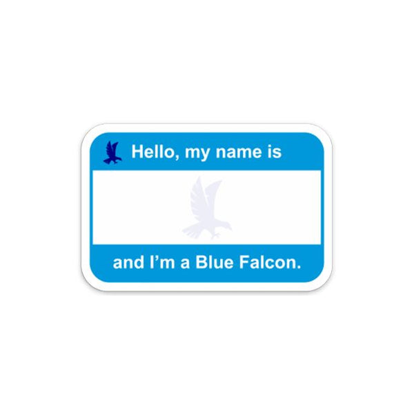 Blue Falcon Name Tag Sticker/Decal Morale Patch® Armory The 6 Pack