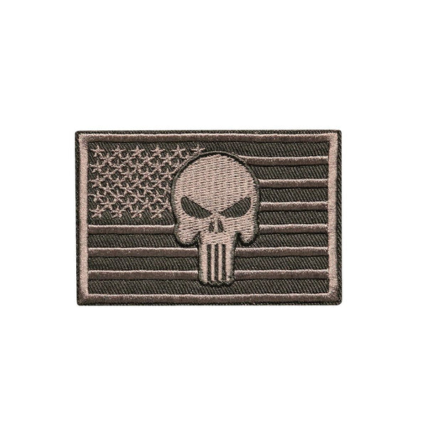 Punisher American Flag Embroidered Patch Morale Patch® Armory Charcoal