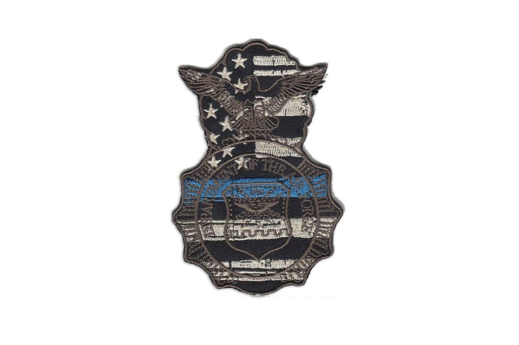 Thin Blue Line Security Forces Badge Patch Grey Morale Patch