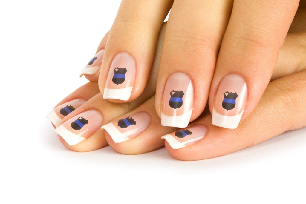 Thin Blue Line Badge Nail Art