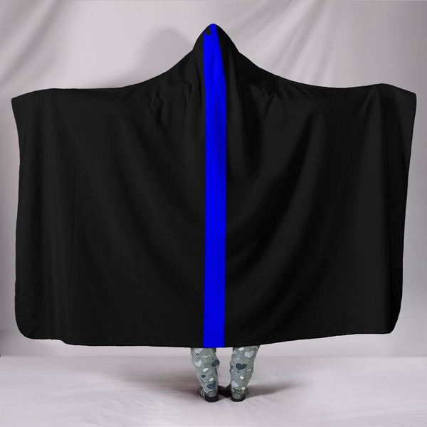 "Thin Blue Line Hooded Blanket Hooded Blanket Morale Patch® Armory Hooded Blanket - Thin Blue Line Hooded Blanket Youth 60""x45"""