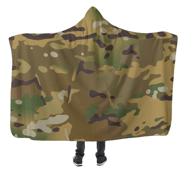 "Multicam Hooded Blanket Hooded Blanket Morale Patch® Armory Hooded Blanket - Multicam Hooded Blanket Adult 80""x60"""