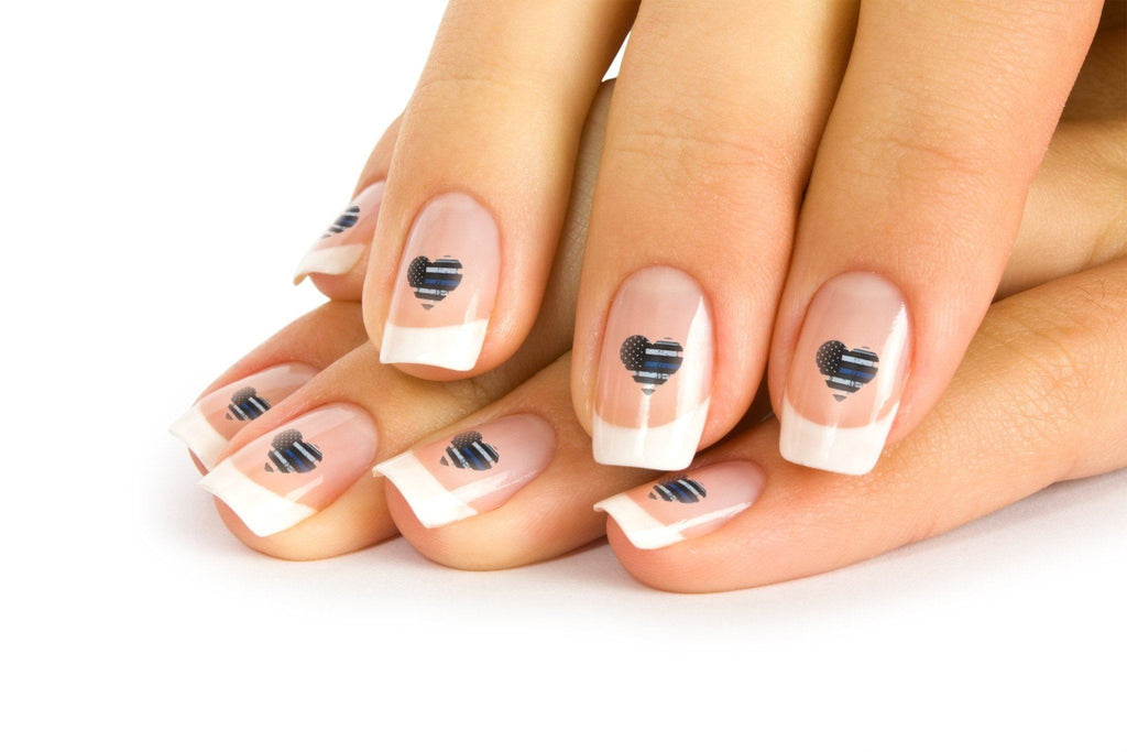 Thin Blue Line Hearts Nail Art