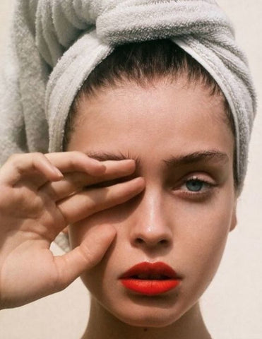 model beauty skincare glow red lips