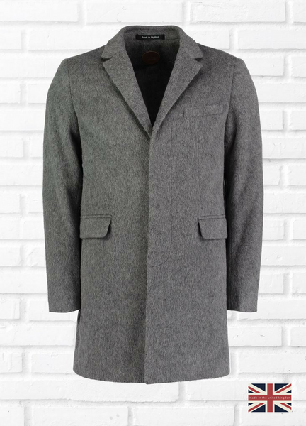 MOHAIR CROMBIE COAT - GREY