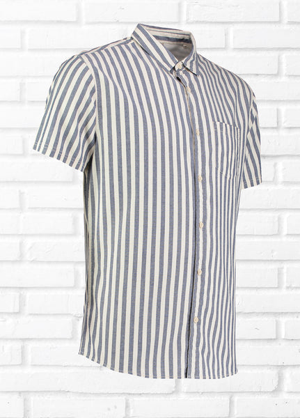 JAMESON VERTICAL STRIPE SHIRT - WHITE/BLUE