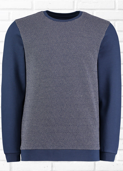 HARRISON DIAMOND PATTERN SWEATSHIRT - NAVY