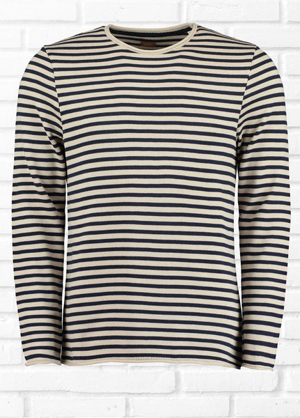 MARTIN STRIPED JUMPER - NAVY/STONE