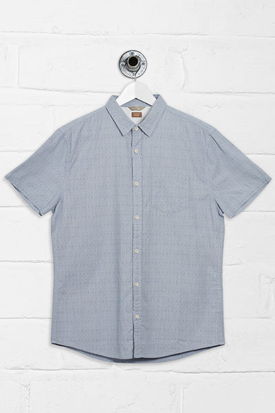 MAKER DOBBY SHORT SLEEVE SHIRT - BLUE