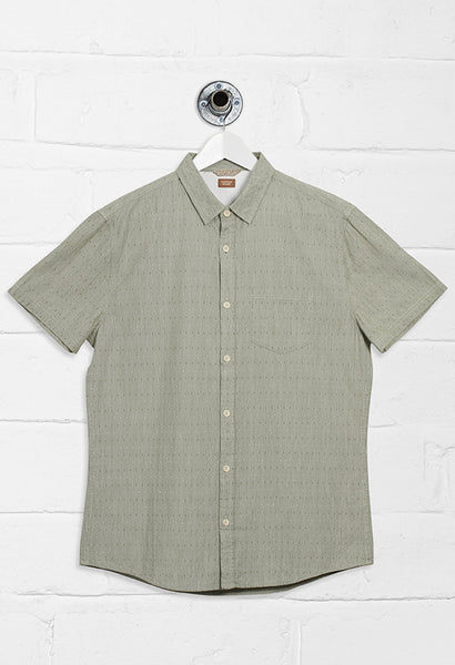 MAKER DOBBY SHORT SLEEVE SHIRT - KHAKI