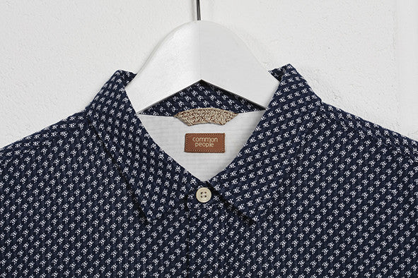 MAKER JACQUARD SHORT SLEEVE SHIRT - NAVY