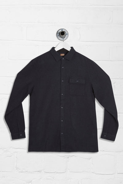 LAZARUS LONG SLEEVE FLANNEL SHIRT - NAVY