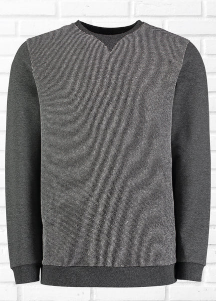 GANG TEXTURED FRONT PANEL SWEATSHIRT - CHARCOAL
