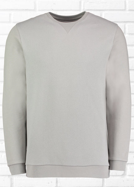 BAILEY TEXTURED FRONT PANEL SWEATSHIRT - GREY
